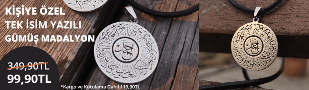 Kişiye Özel Tek İsim Yazılı Gümüş Madalyon