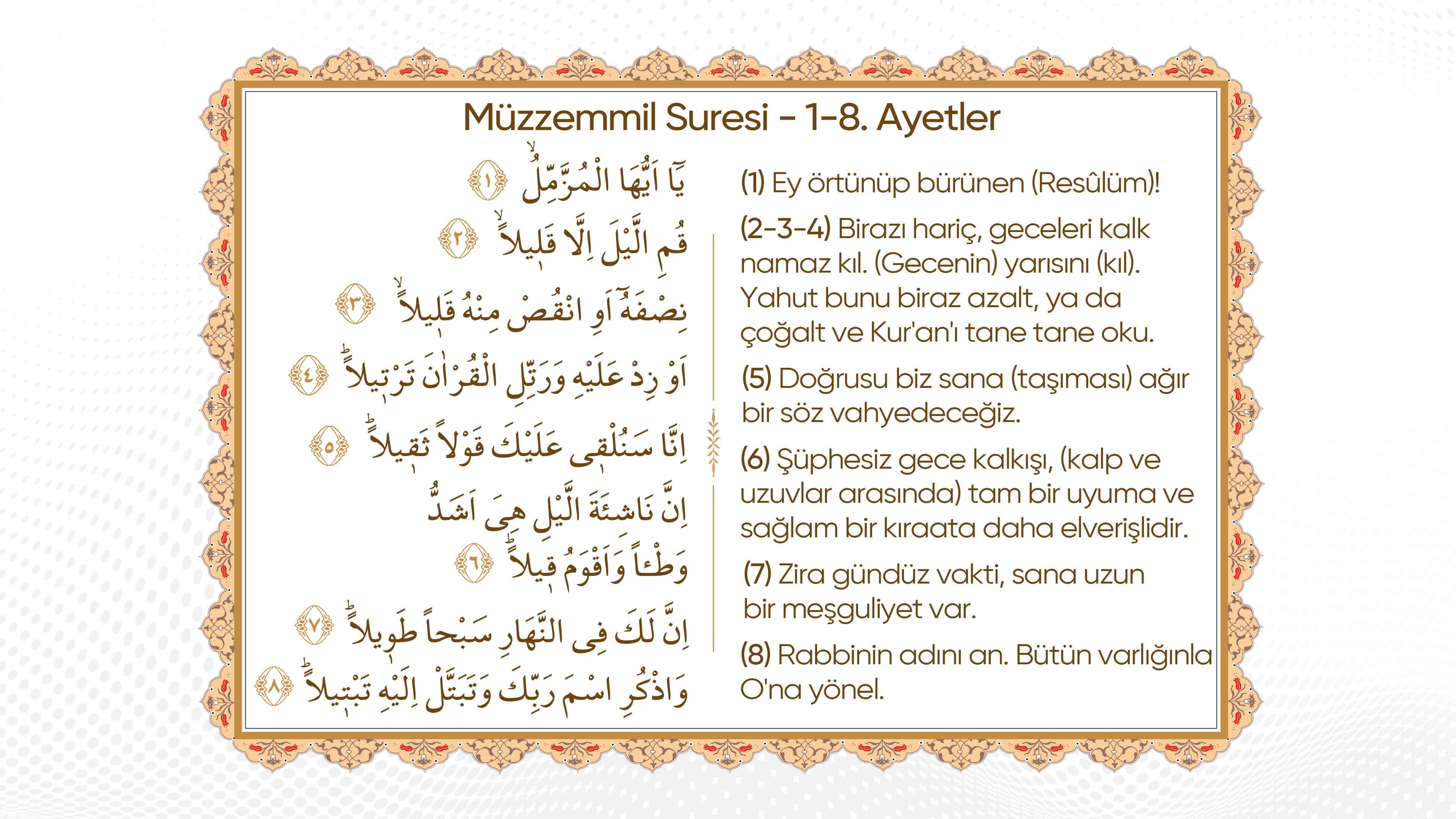 Müzzemmil Suresi 1-8 Ayetler