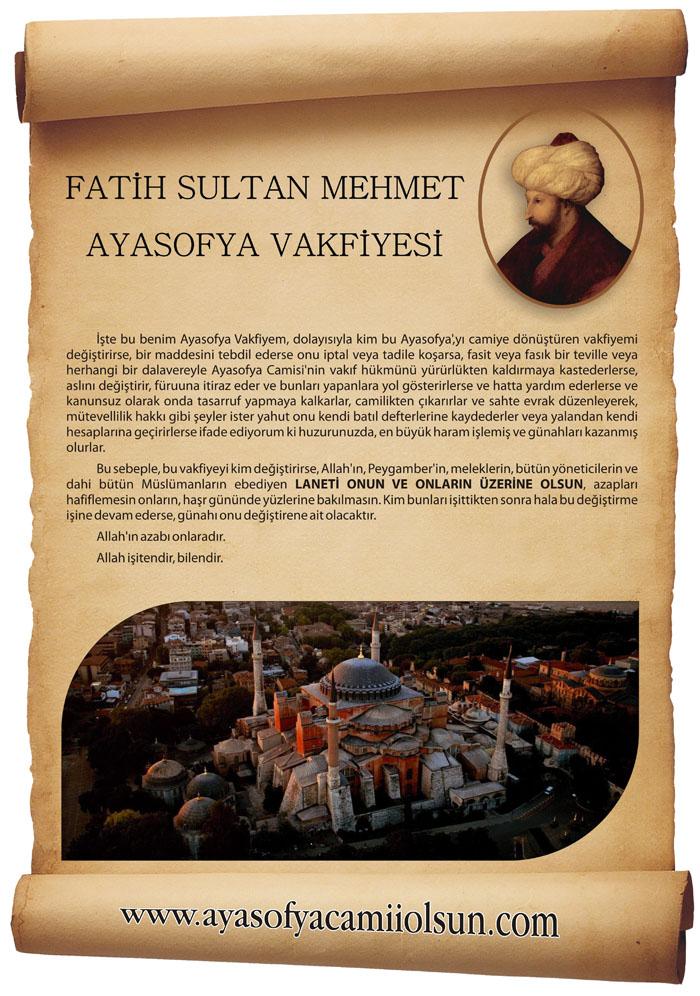 Fatih Sultan Mehmed'in Ayasofya Vakfiyesi