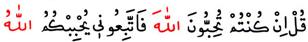 De ki: Eğer Allah'ı seviyorsanız, bana uyun ki Allah da sizi sevsin. Al-i İmran Suresi
